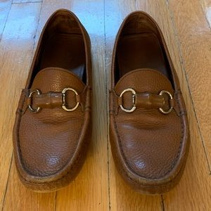 Gucci women's brown leather loafers size 37.5